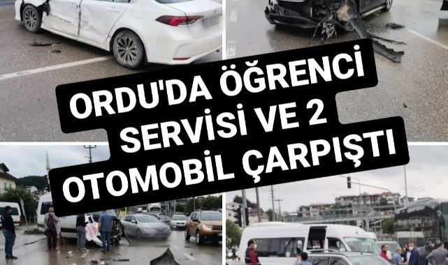 Ordu'da öğrenci servisi 2 otomobille çarpıştı